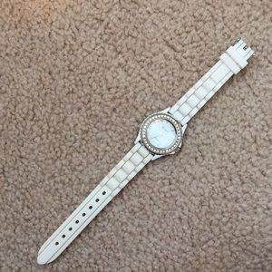 White and Silver silicone watch